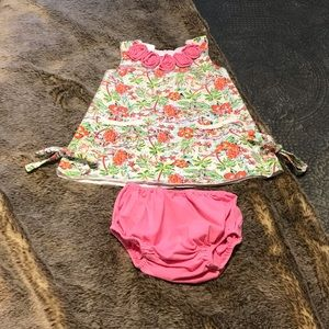 Banana Split baby dress w/ bloomers 12 months